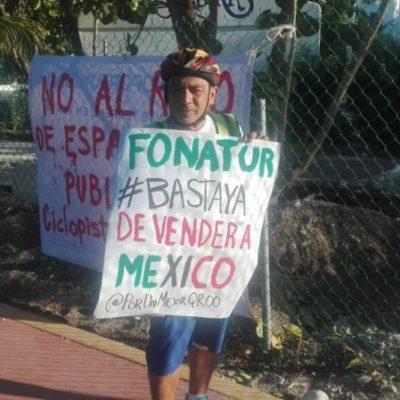 """""""BASTA YA DE VENDER A MÉXICO"""": Se manifiestan ciudadanos en defensa de la ciclopista destruida en Zona Hotelera de Cancún; niega Fonatur que se vaya a destruir"""