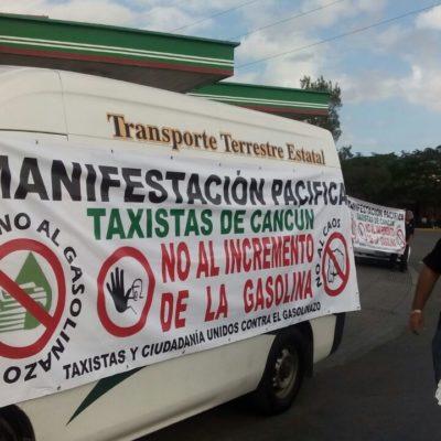 BLOQUEAN TAXISTAS GASOLINERAS: Inician las protestas contra el alza del combustible y aseguran que no aumentarán tarifas