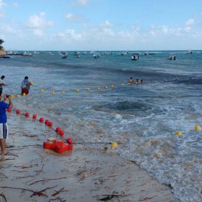Asegura comuna zona de socavón en playa para prevenir accidentes