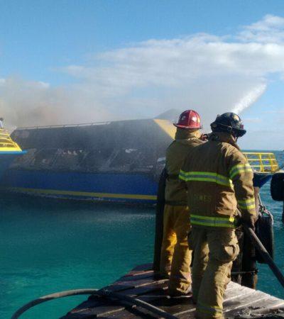 Descartan náuticos afectación al sector por incendio de barco de Ultramar; se actuó bien y rápido y no hubo heridos
