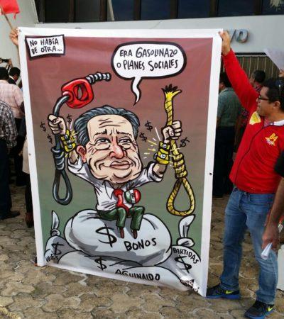 MANIFESTACIÓN EN EL CONGRESO: Demandan a diputados trabajar para bajar el costo de la gasolina