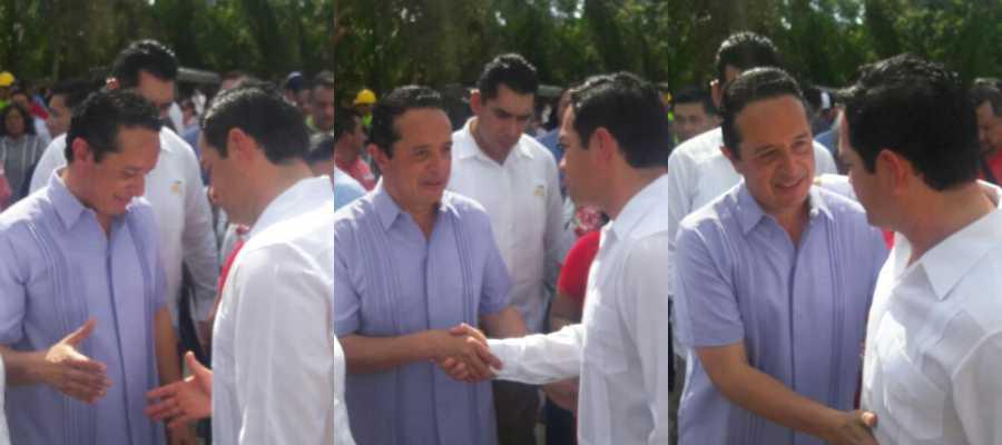 Durante su gira por Playa del Carmen, el Gobernador Carlos Joaquín saludó al diputado federal priista, José Luis Toledo Medina.