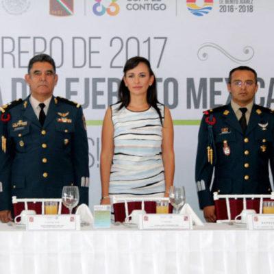 Asiste Alcaldesa de Puerto Morelos a celebración por el Día del Ejército