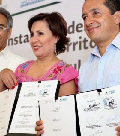 Entrega Federación al Gobierno de QR títulos del Canal de Zaragoza Norte y Sur