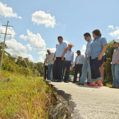 Supervisa Alcalde Luis Torres y titular de Sintra tramos carreteros abandonados para iniciar reparación