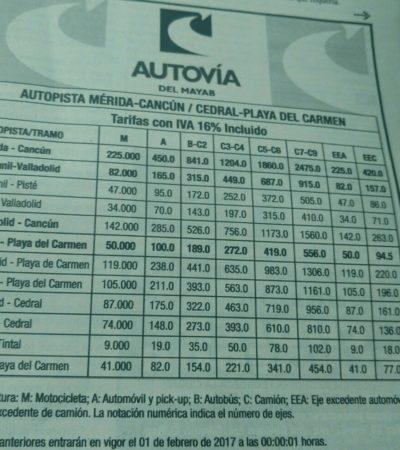 """""""UNA RAYA MÁS AL TIGRE"""": Aumenta costo de la autopista de cuota Mérida-Cancún y otras más entre Yucatán y Quintana Roo"""