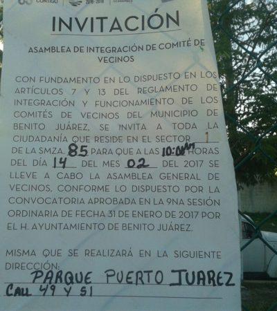 Vecinos de Puerto Juárez acusan boicot de subdelegada para desarrollar asambleas para elegir comités vecinales