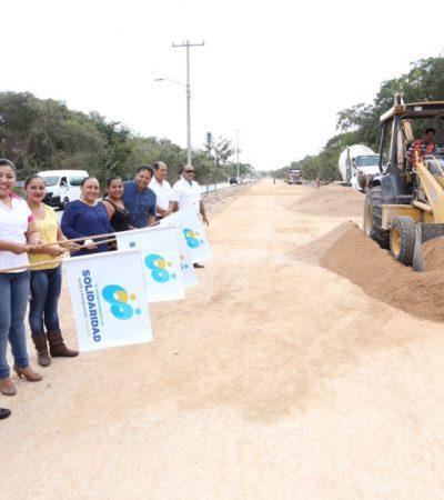 Inician trabajos de pavimentación en la avenida Xel Ha del fraccionamiento La Guadalupana en Solidaridad