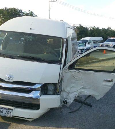 OTRO APARATOSO ACCIDENTE EN CANCÚN: Choca Van de transportadora en el Bulevard Colosio con saldo preliminar de 12 lesionados