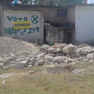 Suspenden obra de un particular en Xul Ha por invadir predio propiedad de la comuna de OPB
