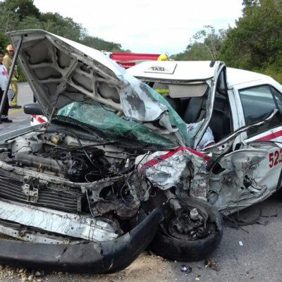 MORTAL CHOQUE EN LA CARRETERA: Muere prensado un taxista en la vía Tulum-FCP