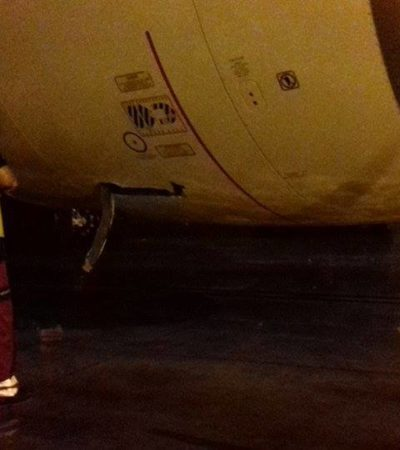 COSTOSO DESCUIDO EN EL AEROPUERTO DE CANCÚN: Vehículo maletero choca con avión Boeing de Air France y causa daños a un motor