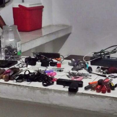 Hallan marihuana, cocaína, 'puntas' y hasta 'tepache' en operativo de revisión del Cereso de Chetumal