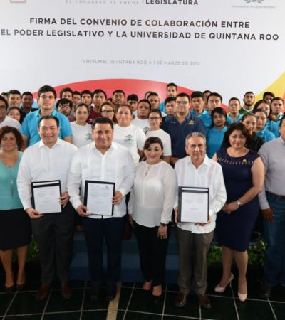 Firma el Congreso de QR convenio con la Uqroo para mejorar la capacitación académica de estudiantes