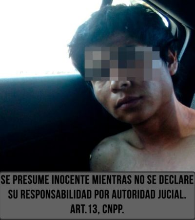 Detienen a ladronzuelo que despojó de una bolsa de mano a turista en playa de la Zona Hotelera de Cancún