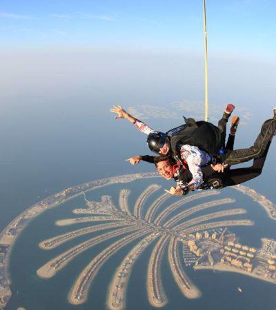 PRESUME VIAJE A DUBAI HIJA DE DIPUTADO DE LA ZONA MAYA: Jovencita se lanza de paracaídas sobre la 'glamurosa' urbe árabe y exhibe a su padre José Esquivel