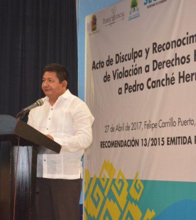 Ofrece Fiscalía disculpa pública a Pedro Canché por encarcelamiento durante el borgismo