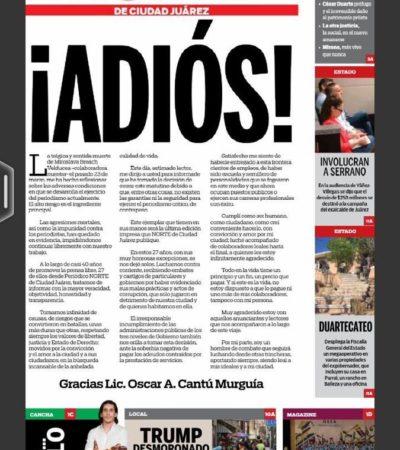 VIOLENCIA IMPUNE GOLPEA LOS MEDIOS: Cierra el periódico El Norte de Chihuahua tras el asesinato de Miroslava Breach