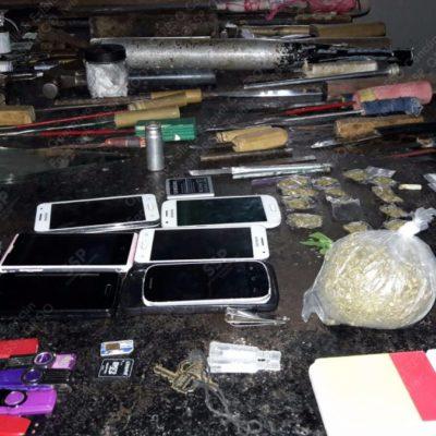 Hallan más droga y celulares en nuevo cateo en la cárcel de Cancún, pero aseguran que cada vez es menor lo decomisado