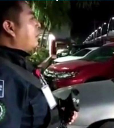 Exhiben a otro policía federal que, borracho y armado, golpea a ciudadano en Playa del Carmen (VIDEO)