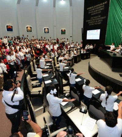 LOS NIÑOS ENTRAN AL QUITE EN EL CONGRESO: Instalan el Séptimo Parlamento Infantil de Quintana Roo