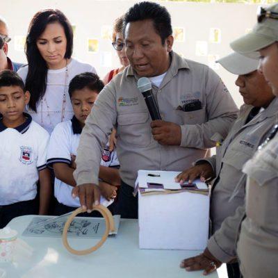 Enseñan a niños de Puerto Morelos a combatir el paludismo