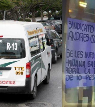 HEREDAN ALZA DE TARIFAS: Combis del Transporte Terrestre Estatal aumentan el pasaje a partir de este sábado de 8 a 10 pesos; comuna rechaza incremento