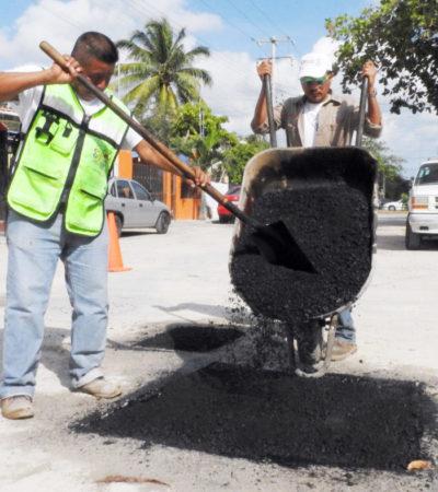 Rehabilitan más de 34 mil 500 metros cuadrados de vialidades en Cancún