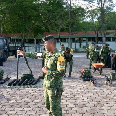 Participa Protección Civil de Puerto Morelos en demostración de recursos de la Sedena para actuar en caso de desastres