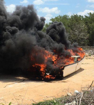 ESTALLA CONFLICTO POR LA PESCA ILEGAL EN CHIQUILÁ: Pescadores queman lanchas de 'pepineros' provenientes de Campeche