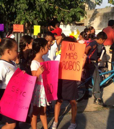 Protesta en escuela primaria de Calderitas por inseguridad