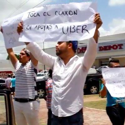 Protestan choferes de Uber en Cancún por 'cacería' de Sintra y taxistas