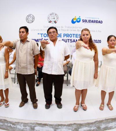 Rinde protesta nueva dirigencia del Sindicato de Trabajadores del Ayuntamiento de Solidaridad