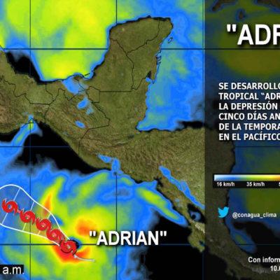 Nace 'Adrián', la primera tormenta tropical en el Pacífico que pone en alerta a costas de México
