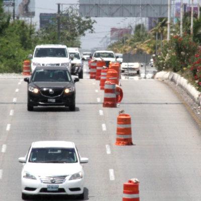 GALERÍA | Por cuarta vez reparan paso a desnivel de la Avenida Colosio de Cancún y afecta la circulación