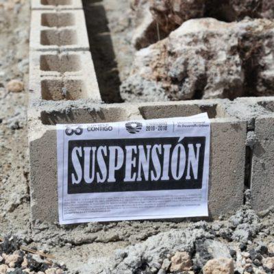 Suspende Desarrollo Urbano obra irregular que invadió vía pública en el bulevar Colosio