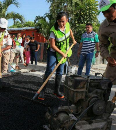 Ponen en marcha programa de bacheo en Puerto Morelos
