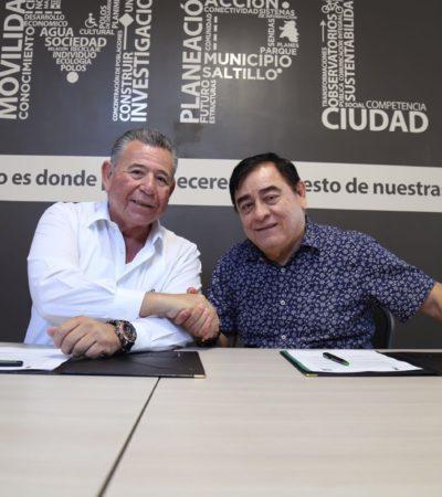 Firma el Implan de Puerto Morelos convenio de colaboración con Saltillo para planeación urbana