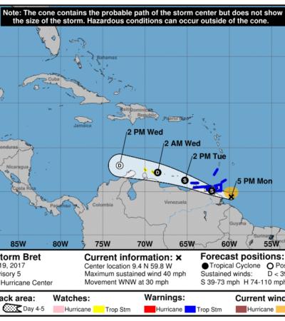 NACE LA TORMENTA TROPICAL 'BRET': El segundo ciclón de la temporada avanza hacia el Mar Caribe