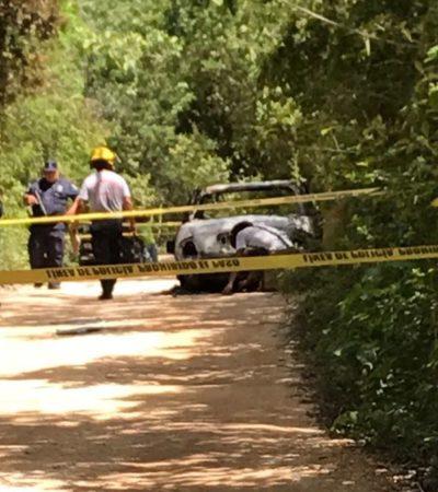 EJECUTADO EN XPU-HÁ: Hallan a una persona muerta dentro de un auto quemado al sur de Playa del Carmen