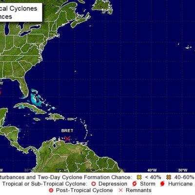 MONITOREO DE CICLONES: Se degrada la tormenta tropical 'Bret' a onda tropical; 'Cindy' se aleja, pero aún habrá lluvias en QR