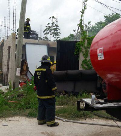 Incendio sin vidas que lamentar en vivienda de la SM 93 de Cancún