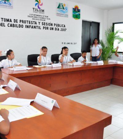 SESIONA CABILDO INFANTIL EN TULUM: Niños se convierten en regidores por un día y tienen a su propia presidenta