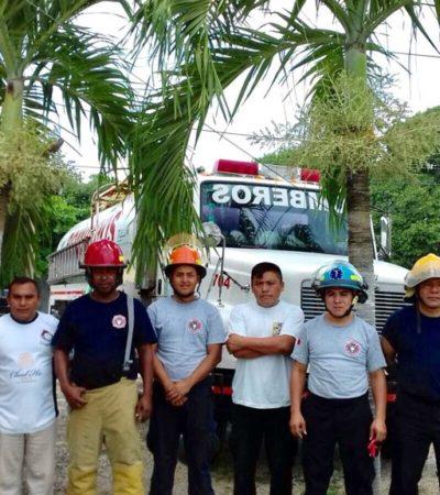 Instalan base del Cuerpo de Bomberos en la comunidad de Cobá para dar cobertura a las zonas de Transición y Maya