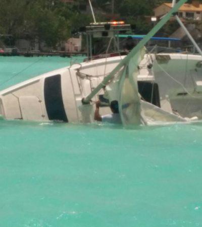 Zozobra velero en Laguna Bacalar