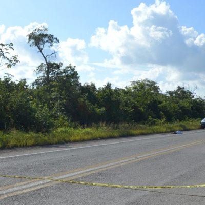 Encuentra a septuagenario muerto a un costado de la autopista Cancún-Mérida