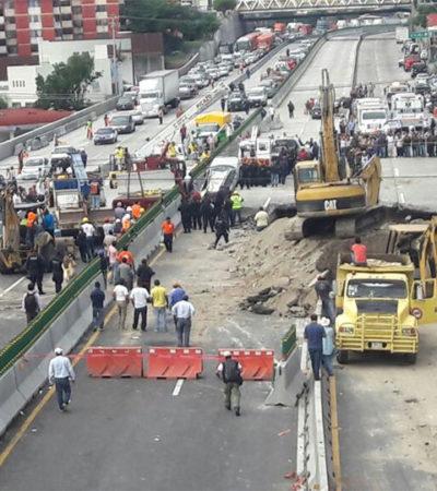 OBRA FALLIDA COBRA VIDAS: Mueren las dos personas que cayeron en el socavón del Paso Exprés que inauguró Peña Nieto hace 3 meses