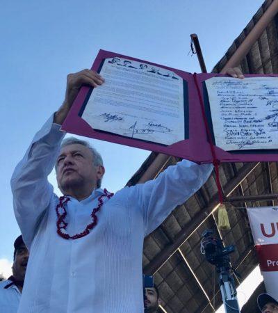 SE REFUERZA AMLO CON 'CARTUCHOS QUEMADOS': Firma el líder de Morena el 'Acuerdo de Unidad por la Prosperidad y Renacimiento de México' en Cancún