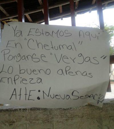 Aparece supuesto narcomensaje en escuela, ahora en Chetumal