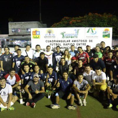 Realizan en Tulum cuadrangular de futbol rápido entre funcionarios de 4 municipios